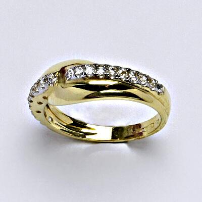 Zlatý prsten, prsten ze zlata, žluté zlato, zlatý prsten se zirkony, váha 2,93 g, vel.52