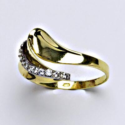Zlatý prsten, prsten ze zlata, žluté zlato, zlatý prsten se zirkony, váha 2,74 g, vel.57