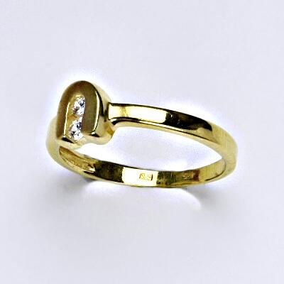 Zlatý prsten, prsten ze zlata, žluté zlato, zlatý prsten se zirkony, váha 2,10 g, vel.54