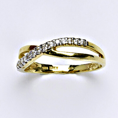 Zlatý prsten, prsten ze zlata, žluté zlato, zlatý prsten se zirkony, váha 2,84 g, vel.59