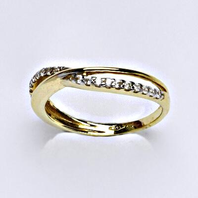 Zlatý prsten, prsten ze zlata, žluté zlato, zlatý prsten se zirkony, váha 2,31 g, vel.53