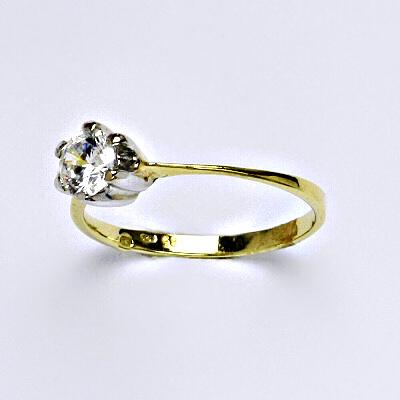 Zlatý prsten, prsten ze zlata, žluté zlato, zlatý prsten se zirkony, váha 1,65 g, vel.53
