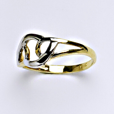 Zlatý prsten, prsten ze zlata, žluté zlato, bílé zlato, váha 2,09 g, vel.56