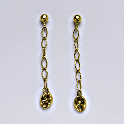 Zlaté náušnice, náušnice ze zlata, žluté zlato, zapínání na puzetu, váha 1,97 g