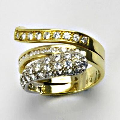 Zlatý prsten, prsten ze zlata, žluté, bílé zlato, prsten se zirkony, 7,03 g, vel. 54,5