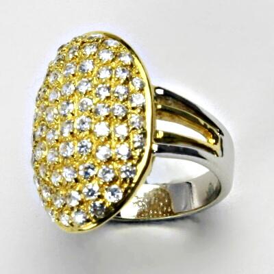 Zlatý prsten, prsten ze zlata, žluté zlato, prsten se zirkony, 6,48 g, vel. 55
