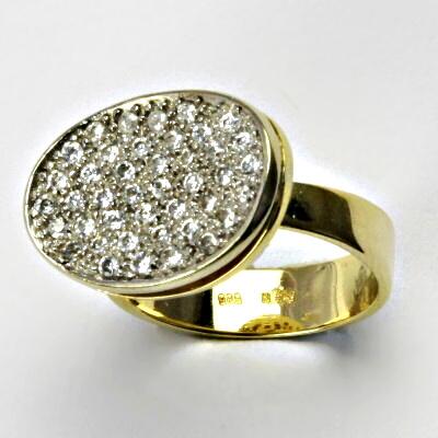 Zlatý prsten, prsten ze zlata, žluté zlato, prsten se zirkony 6,70 g, vel. 54,5
