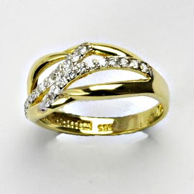 Zlatý prsten, prsten ze zlata, žluté zlato, prsten se zirkony 3,12 g, vel. 58
