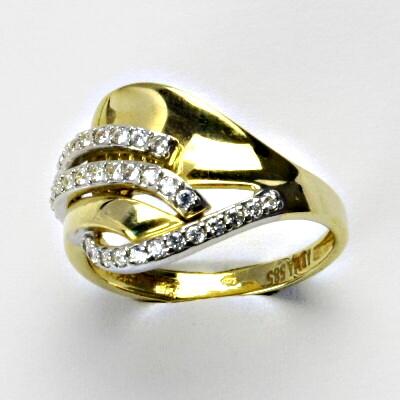 Zlatý prsten, prsten ze zlata, žluté zlato, prsten se zirkony 3,54 g, vel. 56