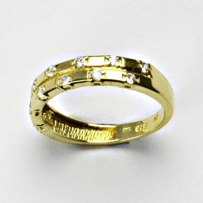 Zlatý prsten, prsten ze zlata, žluté zlato, prsten se zirkony 2,42 g, vel. 54