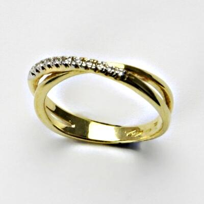 Zlatý prsten, prsten ze zlata, žluté zlato, prsten se zirkony 2,91 g, vel. 53