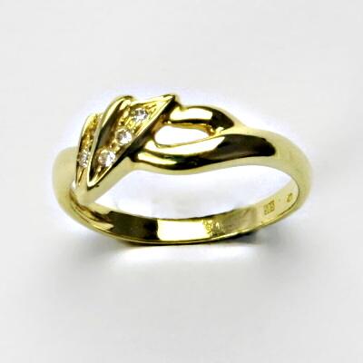 Zlatý prsten, prsten ze zlata, žluté zlato, prsten se zirkony 2,96 g, vel. 57