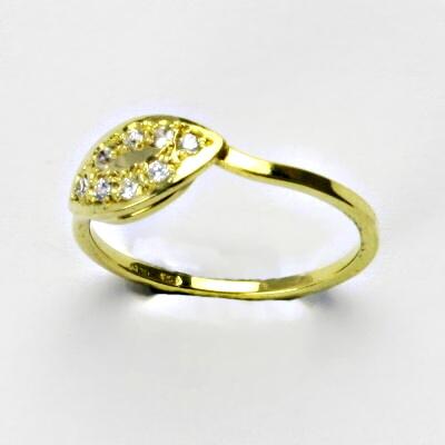 Zlatý prsten, prsten ze zlata, žluté zlato, prsten se zirkony 2 g, vel. 55