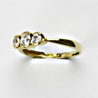 Zlatý prsten, prsten ze zlata, žluté zlato, prsten se zirkony 2,31g, vel. 53