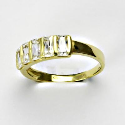 Zlatý prsten, prsten ze zlata, žluté zlato, prsten se zirkony 2,84 g, vel. 54
