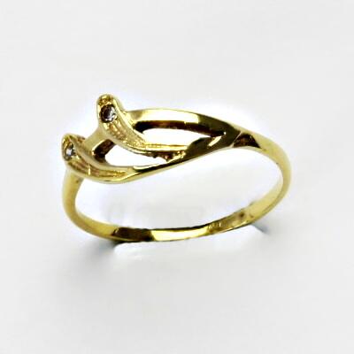 Zlatý prsten, prsten ze zlata, žluté zlato, prsten se zirkony 1,50 g, vel 54